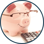 piggy bank calculating project finances